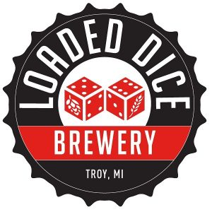 Loaded Dice Brewery's logo is shaped like a bottle cap and has two dice on it with beer ingredients on the sides.