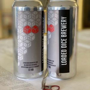 Two open cans of Loaded Dice Brewery Beer.