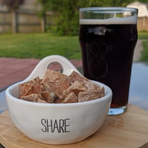 Spent Grain Beer Crackers with a cold beer.