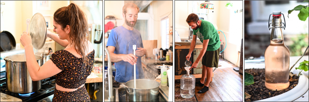 A series of photographs showing the process of boiling, cooling, fermenting, and bottling seltzer.