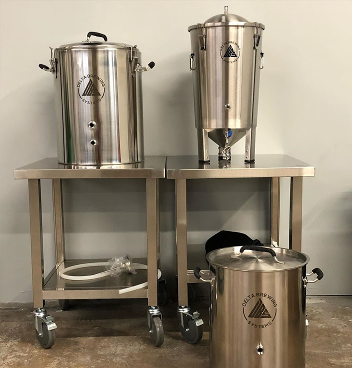 Image of DBS kettles, fermenters, and tables.